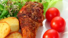 Roasted chicken leg Stock Footage