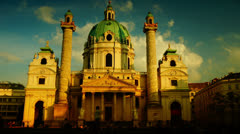 4k,(Timelapse View) Karlskirche Church stand in southern part Karlsplats, on May Stock Footage