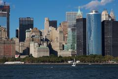 Close View of Downtown Manhattan Eastern Skyline - stock photo