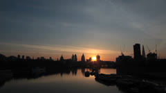 Sunrise - River Thames and London Skyline. St Pauls, Gherkin and Shard Stock Footage