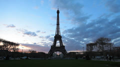 Creative. Paris, France. Eiffel Tower - Colorful Clouds 2 - Sunset Timelapse Stock Footage