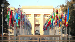 Flags of the world at the UN headquarters Geneva Stock Footage