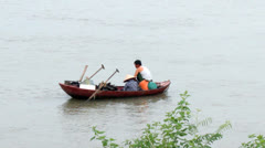 Fishing on a river Stock Footage