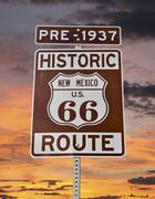Old route 66 new mexico sign with sunrise sky Stock Photos