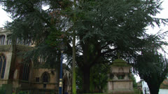 Stock Video Footage of Church and Leafy Churchyard