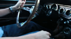 Driving the Mustang 3, handheld Stock Footage