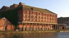 Old Brick Factory on a Wharf Stock Footage