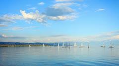 Sailling school on lac leman Lake GENEVA Stock Footage