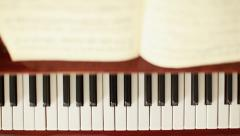 Panoramic movement on a piano keyboard Stock Footage