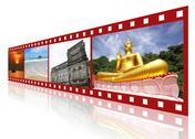 Red 3d film strip with nice pictures of phuket thailand, concept of tourism i Stock Illustration