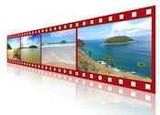 Red 3d film strip with nice pictures of andaman scene Stock Illustration