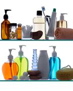 bathroom products on shelves - stock photo