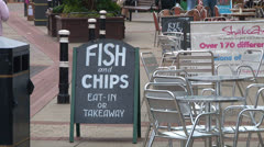 Fish & Chips Blackboard Sign Stock Footage