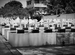 Cemetery image with crosses Stock Photos