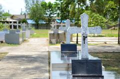 crosses at chantaburi cemetery - stock photo