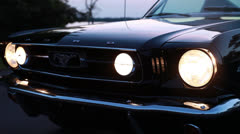 Mustang headlights on off on Stock Footage