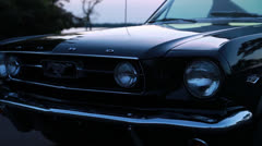 Mustang headlights on, cropped - stock footage