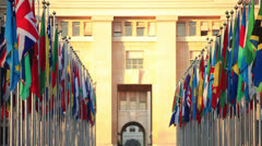 flags of the world at the UN headquarters Geneva - stock footage