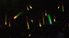 Concert, the audience waving light sticks Stock Footage