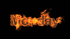 Flame monday word,fire week text. Stock Footage