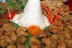traditional ethnic food offerings java indonesia - stock photo