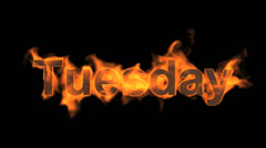 Flame tuesday word,fire week text. Stock Footage