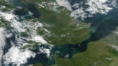 United Kingdom UK From Space with Wales and Ireland Stock Footage