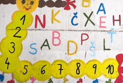 funny letters and numbers on the wall - stock photo