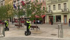 Police rides on segway Stock Footage