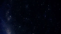 Starfield time-lapse, falling star, loop Stock Footage