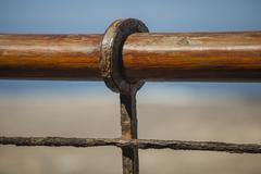 Wooden and rusty railing Stock Photos