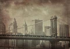 vintage grunge image of new york city - stock illustration