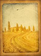 Vintage postcard with classical tuscan view Stock Illustration