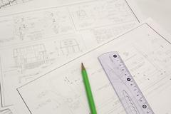draftings, pencil and ruler - stock photo