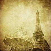 Vintage image of eiffel tower, paris, france Stock Illustration
