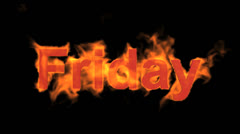 flame friday word,fire week text. - stock footage