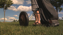 Golf Hand Cart Breaks 1 Stock Footage