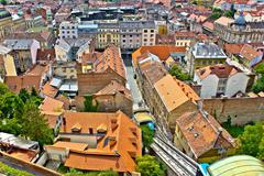 zagreb - historic lower town architecture & rooftops - stock photo