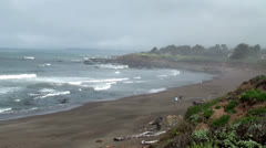 View of Moonstone beach at Cambria, California. Stock Footage