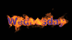 flame wednesday word,fire week text. - stock footage