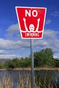 No swimming sign Stock Photos