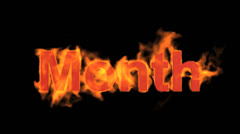Flame month word. Stock Footage