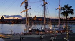 Malaga Yacht at Harbor Stock Footage