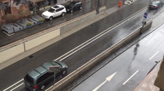 Wet street in City Stock Footage