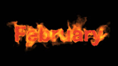Flame february word,fire month text. Stock Footage