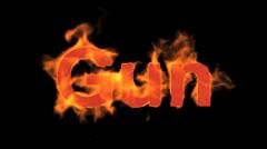 Flame gun word,USA gun ban sign. Stock Footage