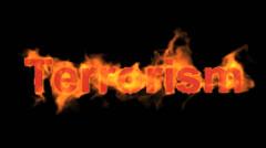 Burning terrorism word,fire text. Stock Footage
