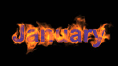Flame january word,fire month text. Stock Footage