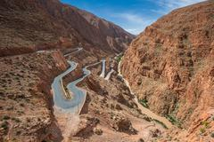 Winding road in dades gorge, morocco Stock Photos