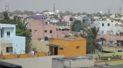 India Tamil Nadu Chennai ochre and mauve buildings and palm trees Stock Footage